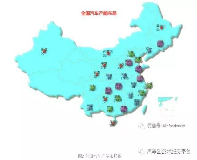 中国的汽车主机厂都在哪里?